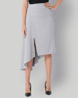 Light Grey High Waist Asymmetrical Skirt