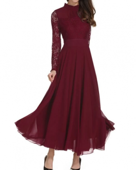 Frill Neck Lace Top Flowy Maxi Dress