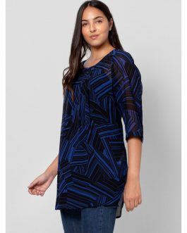 Curve Blue Abstract Print Tunic