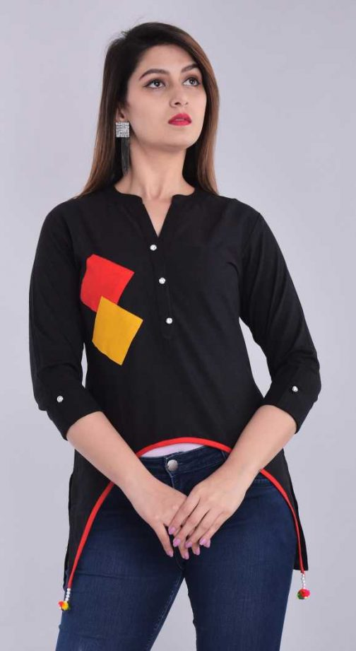 3 by 4 Sleeve Solid Women Black Top