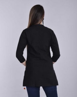 Casual 3/4 Sleeve Solid Women Black Top