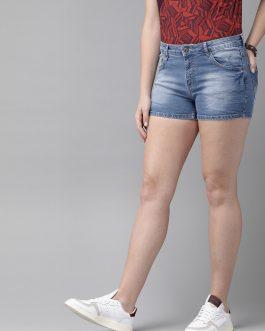Blue Washed Regular Fit Denim Shorts