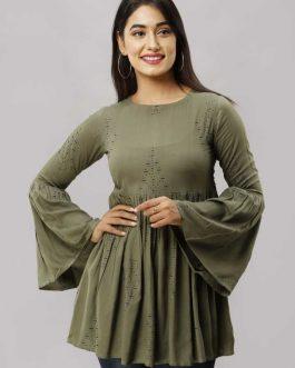 Bell Sleeve Printed Women Green Top