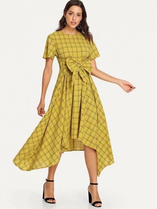 Bow Tie Front Plaid Hanky Hem Dress