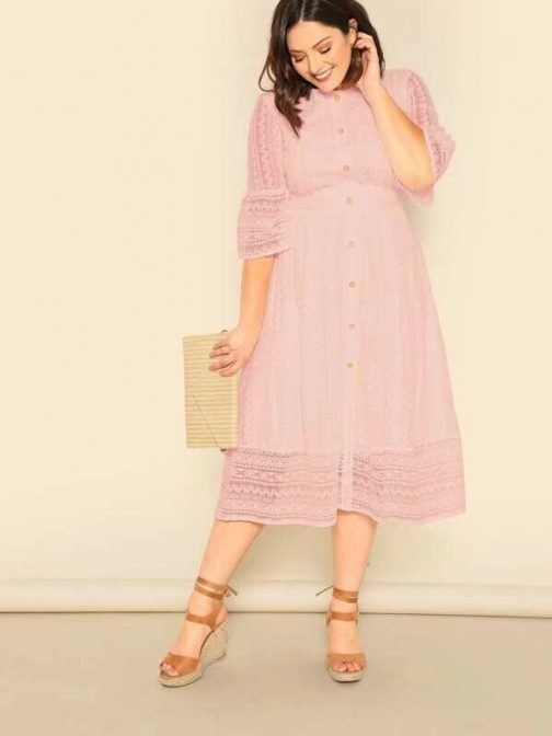 Button Front Lace Overlay Dress