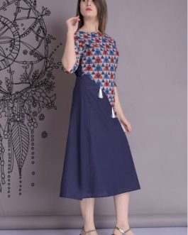 Blue Cotton Printed A Line Style Kurti