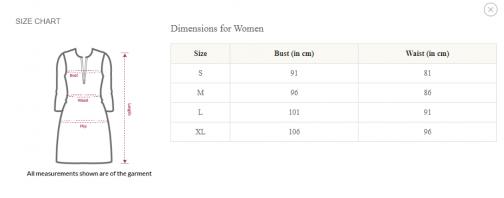 CV Kurtis Size Chart