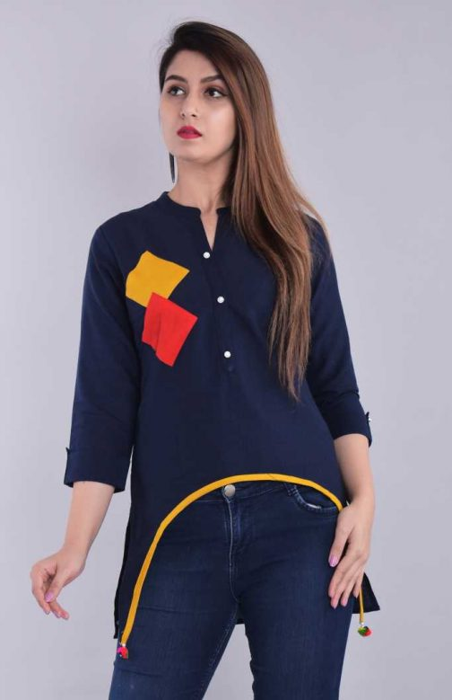 Casual 3 by 4 Sleeve Solid Women Blue Top