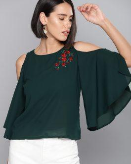 Green Solid Cold-Shoulder Top
