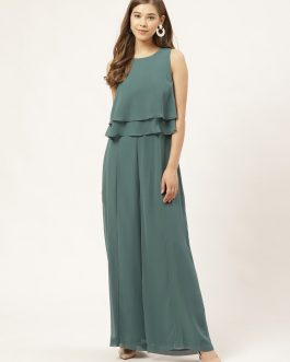 Green Solid Layered Basic Jumpsuit