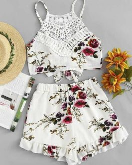Lace Panel Floral Print Cami Top With Shorts