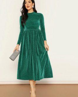 Mock-neck Fit & Flare Glitter Dress