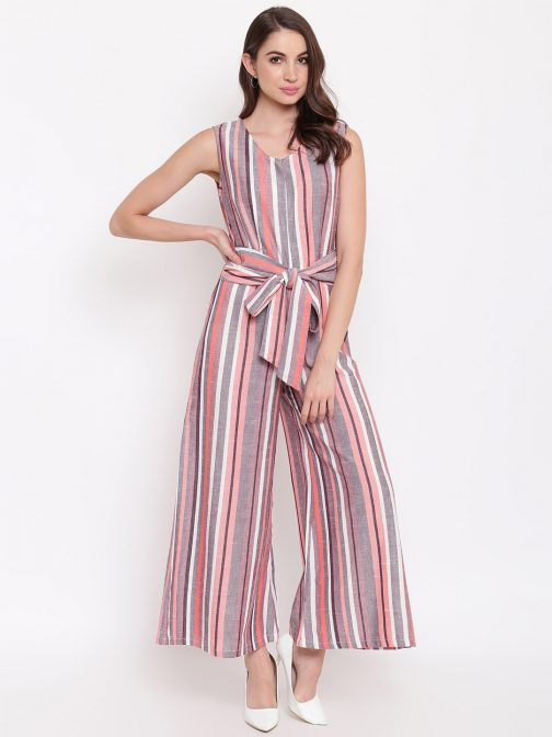 Multicoloured Striped Basic Jumpsuit