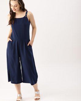 Navy Blue Solid Culotte Jumpsuit