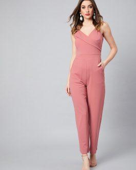 Pink Solid Basic Jumpsuit