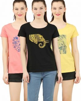 Printed Women Round Neck Multicolor T-Shirt  (Pack of 3)