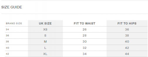 Size Guide SKirts