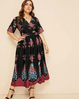 Surplice Tribal Print Dress