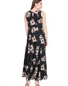 Black Printed Flared Maxi Dress