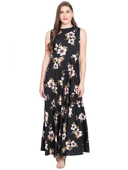 black-printed-flared-maxi-dress