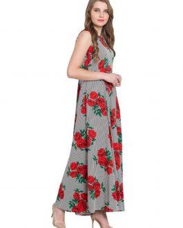 Grey & White Printed Flared Maxi Dress