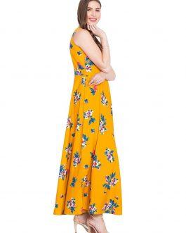Mustard Printed Flared Maxi Dress
