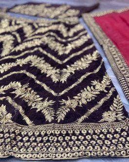 Boutique Velvet Embroidery Chocolate Colour Lehenga Choli