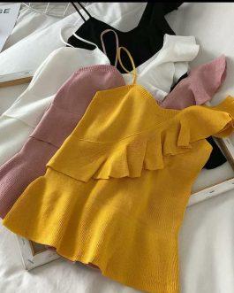 Single Shoulder Knitted Suspender Vest